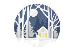 Illustration de la forêt d'hiver