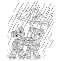 ours en peluche sous la pluie dessinés à la main pour un livre de coloriage pour adultes vecteur