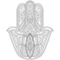hamsa dessinés à la main pour un livre de coloriage pour adultes vecteur