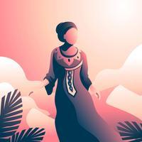 Femme en caftan au désert vecteur