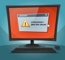 Ordinateur de dessin animé avec un message d'erreur vecteur