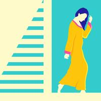 Femme en illustration vectorielle caftan vecteur