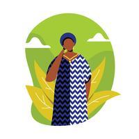 Femme, illustration, caftan vecteur