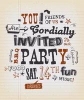 Affiche d'invitation à une fête sur papier scolaire vecteur