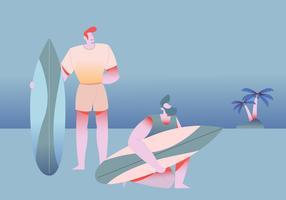 Personnes surfer sur la plage Illustration vectorielle