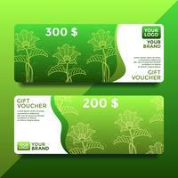 Vecteur de modèles de bon de carte-cadeau Batik vert