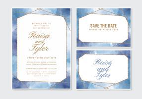 Invitation de mariage aquarelle géométrique de vecteur
