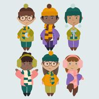 Illustrations vectorielles des enfants en vêtements d'hiver