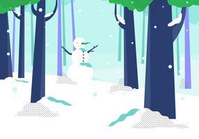 Forêt d'hiver avec Snow Man Background Vector Illustrtion