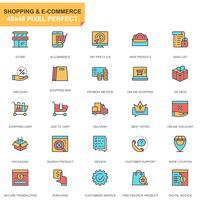 Jeu d'icônes de magasinage et de commerce électronique vecteur
