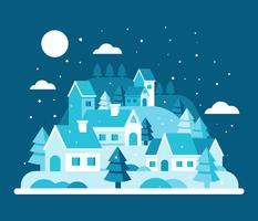 Vecteur de paysage village d'hiver