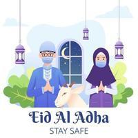 eid adha mubarak salutation avec un couple portant un masque pour covid-19 vecteur