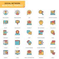 Jeu d'icônes de médias sociaux et réseau