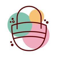 ligne de sac à main féminin et icône de style de couleur vecteur