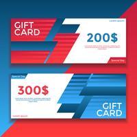 Vecteur de modèles de bon de carte cadeau bleu rouge