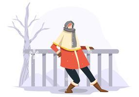 Portrait de mannequin en plein air en hiver vecteur