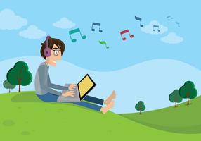 Homme écoutant de la musique vecteur