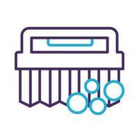 icône de style de ligne de nettoyage de brosse de poignée vecteur