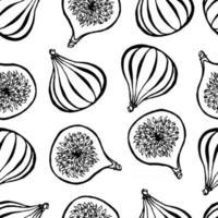 modèle sans couture avec des éléments de figues de fruits dessinés à la main. fond d'écran végétarien. pour l'emballage de conception, le textile, l'arrière-plan, les cartes postales et les affiches de conception. vecteur