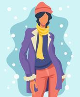 Modèle de portrait en hiver extérieur illustration