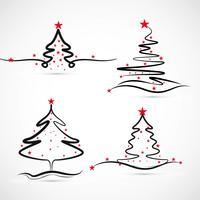 Élégant merry christmas tree set design vecteur