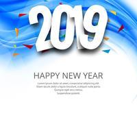 Bonne année 2019 fond de célébration de la carte vecteur