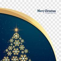 Beau fond de carte arbre de flocon de neige joyeux Noël vecteur
