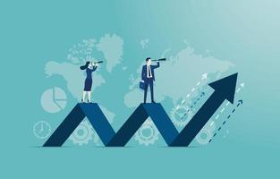 concept d'entreprise de vecteur avec des employés debout sur la flèche. concept de gouvernance d'entreprise