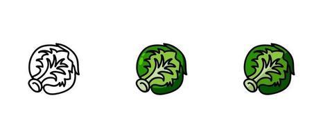 contour et symboles colorés du chou vecteur