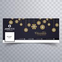 Flocon de neige joyeux Noël avec modèle de conception de bannière facebook