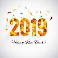 2019 bonne année texte fond brillant coloré vecteur