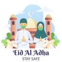 le couple célèbre l'aïd al adha avec une chèvre pour l'aïd al adha moubarak tout en portant des masques pour covid 19 vecteur