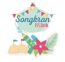 festival de songkran pistolet à eau drapeaux de fleurs palais de sable vecteur