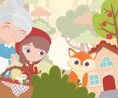 petit chaperon rouge grand-mère loup panier maison forêt conte de fées dessin animé vecteur