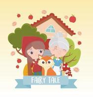dessin animé de conte de fées petit chaperon rouge mamie et loup vecteur