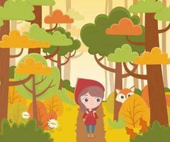 petit chaperon rouge marchant dans la forêt et loup regardant un dessin animé de conte de fées vecteur