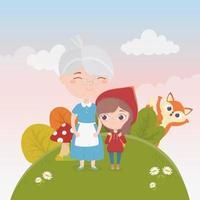 petit chaperon rouge avec grand-mère et loup nature conte de fées vecteur