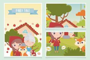 petit chaperon rouge grand-mère loup maison forêt arbre fleurs conte de fées vecteur
