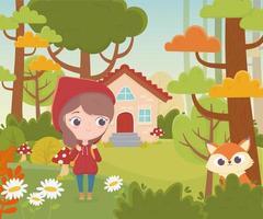 dessin animé de conte de fées de la forêt du petit chaperon rouge et de la maison du loup vecteur