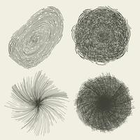 Cercles dessinés à la main abstraites, éclaboussures et formes