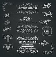 Cadres calligraphiques et bannières sur tableau noir