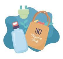 bouteille d'eau sac à provisions recycler bouchon environnement écologie vecteur