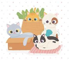 chats mignons pour animaux de compagnie dans un coussin et un panier avec une bande dessinée de boule de laine vecteur