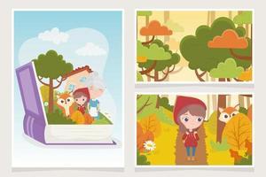 petit chaperon rouge mamie loup forêt livre conte de fées vecteur