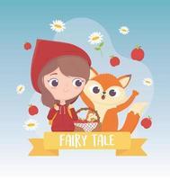Pommes et fleurs de loup de petit chaperon rouge avec la bande dessinée de conte de fées de panier vecteur
