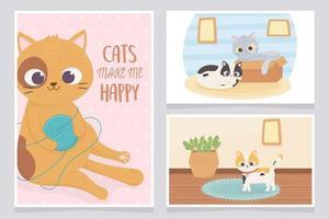 les chats de compagnie me rendent heureux avec la bande dessinée de tapis de salle de boîte de boule de laine vecteur