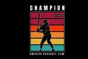champion america baseball club couleur vert jaune et rouge vecteur