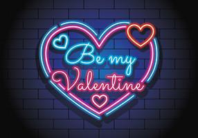 Valentine au néon vecteur