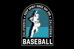 garder l'esprit depuis le premier jour de baseball en californie couleur vert et blanc vecteur