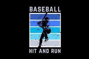baseball hit and run couleur bleu et vert vecteur